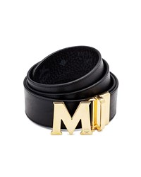 Mcm Visetos Reversible Leather Belt Black