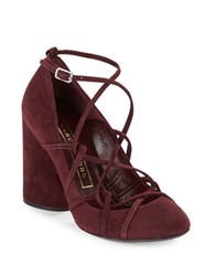 Marc Jacobs Carrie Suede Criss Cross High Heels Bordeaux