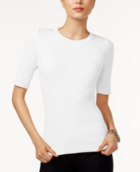 Tommy Hilfiger Ribbed Crew Neck Top Only At Macy's Oatmeal
