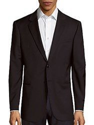 Giorgio Armani Long Sleeve Wool Blazer Solid Dark Blue