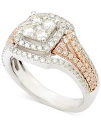 Macy's Diamond Cluster Engagement Ring 1 1 6 Ct. T.W. In 14K White And Rose Gold White Gold