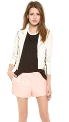 Iro Ashvie Leather Moto Jacket Off White