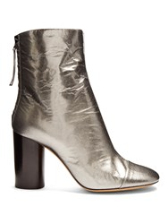 Isabel Marant Grover Crinkle Patent Leather Ankle Boots Silver