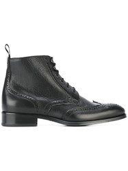 B Store Brogue Detail Boots Black
