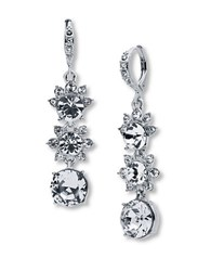 Givenchy Rhodium Plated Linear Drop Earrings Silver