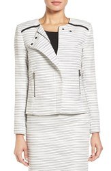 Halogen Petite Women's Collarless Asymmetrical Zip Jacket Ivory Black Tweed