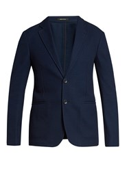 Giorgio Armani Notch Lapel Single Breasted Cotton Blazer Blue Multi