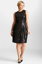 Mynt 1792 Sequin Stretch Asymmetrical Drape Dress Plus Size Black