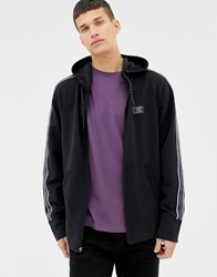Abercrombie And Fitch Sleeve Tape Logo Full Zip Hoodie In Black
