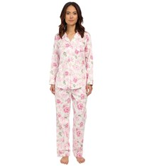 Lauren Ralph Lauren Sateen Notch Collar Pj Gabrielle Floral Silk White Pink Green Women's Pajama Sets