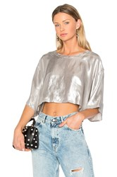 Golden Goose Cropped T Shirt Metallic Silver