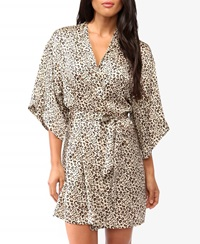 Forever 21 Leopard Print Sleep Robe Cream Brown