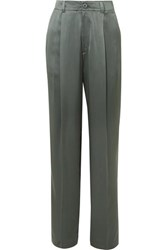Joseph Silk Satin Wide Leg Pants Dark Green