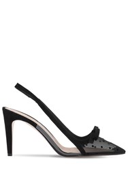 Red Valentino 85Mm Sandie Mesh Sling Back Pumps Black