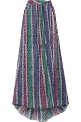 Caroline Constas Hera Snake Print Silk And Cotton Blend Voile Maxi Skirt Purple