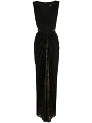 Tadashi Shoji Lace Draped Evening Dress Black