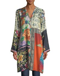 Johnny Was Peadover Long Button Front Silk Cardigan Multi