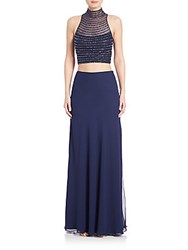 Mignon Two Piece Beaded Chiffon Gown Midnight