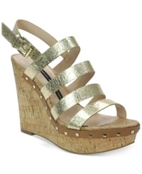 French Connection Deon Platform Wedge Sandals Women's Shoes Light Gold