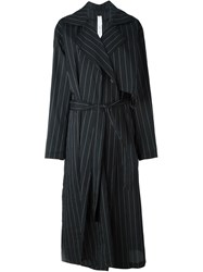 Damir Doma Striped Trench Coat Black