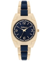 Styleandco. Style And Co. Women's Gold Tone And Blue Stainless Steel Bracelet Watch 36Mm Sy055gn Only At Macy's