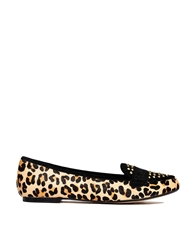 Ravel Mariah Leopard Print Leather Studded Detail Flat Shoes