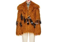 Dries Van Noten Feather Trimmed Faux Shearling Jacket Gold