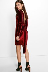 Boohoo Velvet Open Back Drape Detail Bodycon Dress Berry