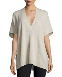 Vince Oversized V Neck Short Sleeve Sweater Light Heather Marzipan Lt Hthr Marzipan
