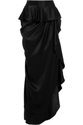 Michael Lo Sordo Ruffled Silk Satin Maxi Skirt Black