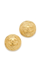 Wgaca Vintage Chanel Twisted Nest Cc Earrings