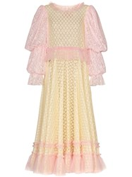 Viktor And Rolf Pouf Sleeve Lace Maxi Dress Orange