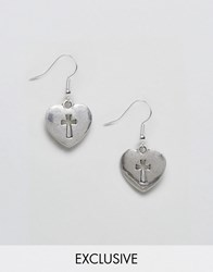 Reclaimed Vintage Inspired Heart And Cross Earrings Silver