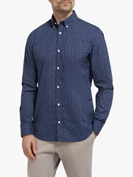 Eden Park Dot Print Slim Fit Shirt Navy