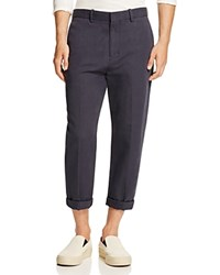 Vince Cotton Linen Cropped Trousers Navy