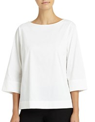 Lafayette 148 New York Solid Boat Neck Top White