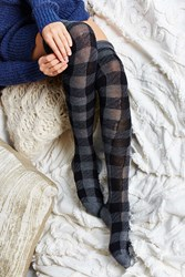 Urban Outfitters Buffalo Plaid Over The Knee Sock Black Multi