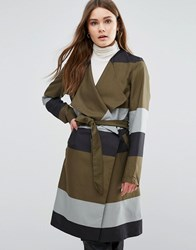 First And I Belted Strip Coat Dark Olive Green