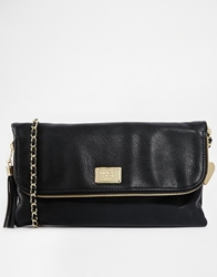 Marc B Evelyn Foldover Clutch Bag With Strap Black