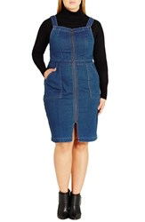 City Chic Plus Size Women's Denim Front Zip Pinafore Dress