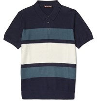 Michael Kors Slim Fit Striped Knitted Cotton Polo Shirt Blue