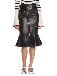 Each X Other Flared Leather Biker Skirt Black