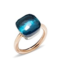 Pomellato Nudo Maxi Ring With London Blue Topaz In 18K Rose And White Gold Blue Rose