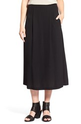 Women's Eileen Fisher Pleated Straight Silk Midi Skirt