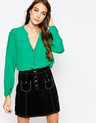 See U Soon Blouse With Lace Up Detail Green