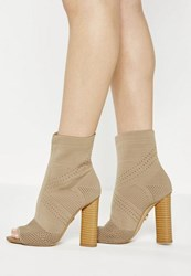 Missguided Nude Knitted Peep Toe Ankle Boots