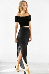Silence And Noise Silence Noise Ribbed Asymmetrical Midi Skirt Black