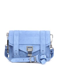 Proenza Schouler Ps1 Mini Crossbody Suede Shoulder Bag Blue