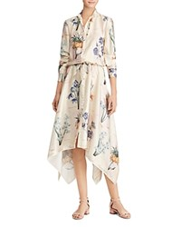 Ralph Lauren Floral Print Handkerchief Hem Shirt Dress Multi
