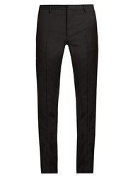 Lanvin Embroidered Slim Fit Wool Tuxedo Trousers Black